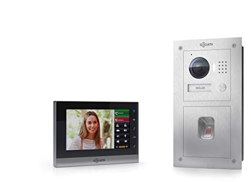 Goliath IP Video Türsprechanlage, Unterputz, HD Türstation, Edelstahl, App mit Türöffner Funktion, 7 Zoll LCD Full Touchscreen, Fingerprint, 1 Familienhaus