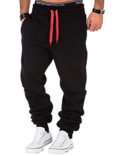 REPUBLIX Herren Sporthose Jogger Jogginghose Sweatpants Trainingshose R0704 Schwarz/Rot 3XL