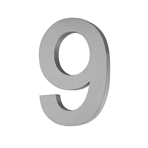 Hausnummer aus gebürstetem Edelstahl V2A im 3D-Design Rostfrei und Wetterfest inkl. Montagematerial - Hausnummer Höhe 20 cm/Tiefe 3 cm schönes 3D Design (9)
