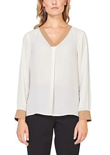 s.Oliver BLACK LABEL Damen Elegante V-Neck-Bluse aus Crêpe Cream 42
