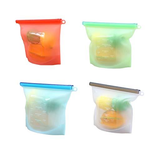 Yardwe 4pcs 1000ml Sac de stockage des aliments en silicone sac de cuisson hermétique de récipient de stockage pour fruits viande lait