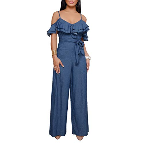 MAWOLY Wide-Leg Sleeveless Hammock Jumpsuits Women Plus Size Boobtube Prom Kady Rave Rompers Top Dressy Playsuits Romper with Flounc Jeans Jumpsuit Blue