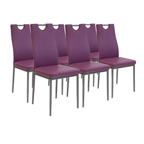 Albatros Salerno Esszimmerstühle, 6-er Set, violett, SGS getestet