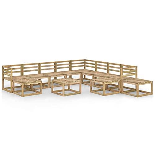 Susany Conjunto de Muebles de Jardín 12 Piezas Muebles de Palets de Jardín Sofá y Mesa para Patio Mueble Exterior Madera de Pino Impregnada Verde