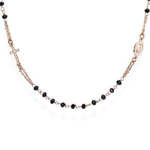 Amen Collana In Argento 925 Collezione Rosari - Colore Rosè - Misura Unica Rosario Girocollo