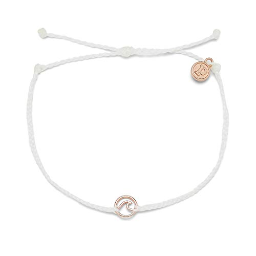 Pura Vida Rose Gold Mini Wave Bracelet - 100% Waterproof, Adjustable Band - Brand Charm, White