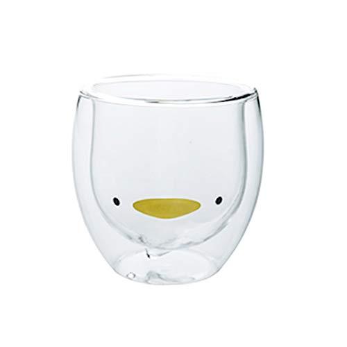 Taza linda Taza de café Taza de té Vasos Vasos con aislamiento de doble pared Taza de café Taza de leche, El mejor regalo para la oficina y cumpleaños personal (Pato)