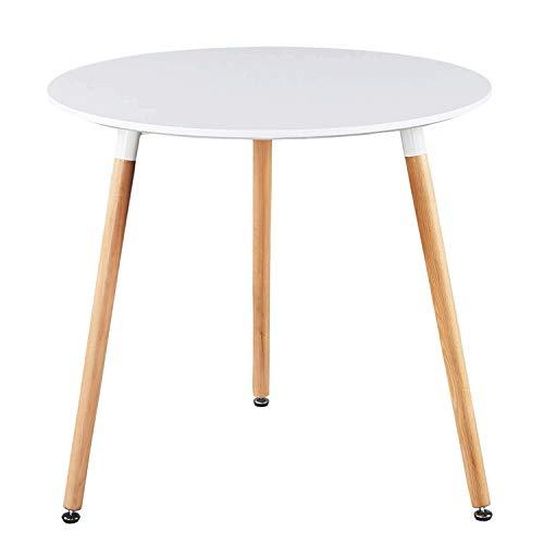 Runder Esstisch Küchentisch Modern Büro Konferenztisch Weiß Kaffeetisch, Beistelltisch,Beine Natur, Weiß