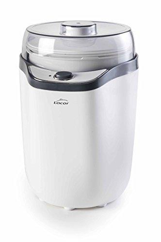 Lacor 69246 Yogurtera, Tapa de Cristal, Incluye dos Contenedores 1.6 L y 1.8 L, Vasos Aptos para Lavavajillas, 8-14 Horas Preparación 20 W, Polipropilelo, 1.8 litros, Polipropileno, Blanco