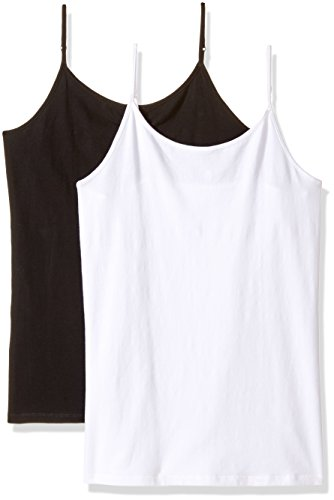 The Children's Place Big Girls' Spaghetti-Strap Camisole (Pack of Two), Black/White, Large (10/12)