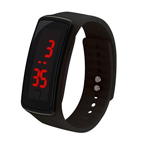 KingbeefLIU Reloj infantil de silicona ajustable con pantalla LED, electrónico, digital, pulsera negra