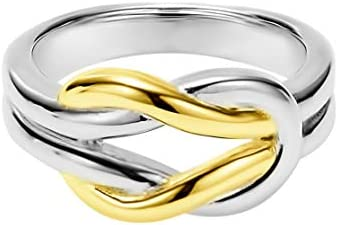 Solid Two Tone Sterling Silver and 18k Yellow Gold Plated Wedding Ring Celtic Love Knot Promise product image