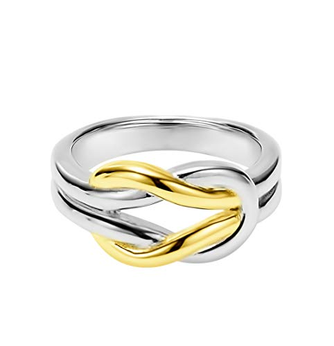Solid Two-Tone Sterling Silver and 18k Yellow Gold Plated Wedding Ring Celtic Love Knot Promise Ring Love Knot Ring (Size 7)