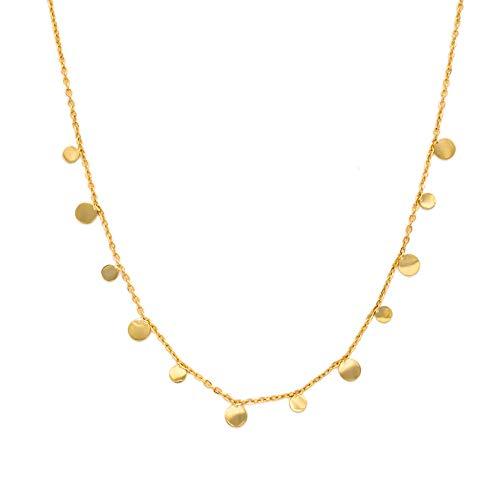 WILD SUN Kette mit Plättchen Gold Damen | Filigrane Goldene Coin Halskette für Frauen | Hochwertige Schlichte Goldkette aus 316 Edelstahl mit 18K vergoldet