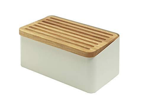 Legnoart Crispy White Bread Box With Double Functioning Lid: Oak Bread Cutting Board and Lid