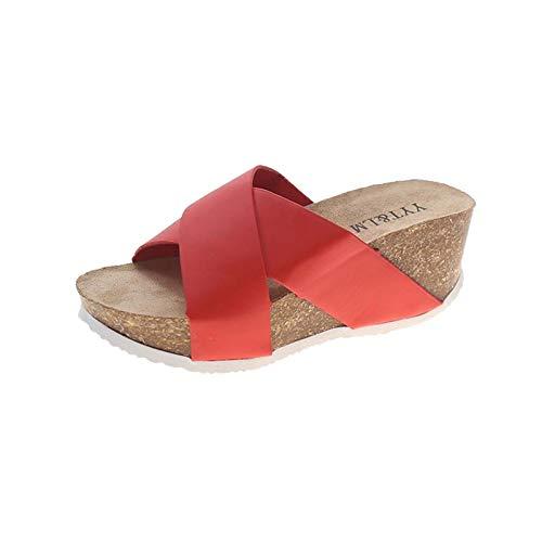Damen Sandalen Keilsandalen Bequeme Beach Strandsandale Hausschuhe Slipper Plateauschuhe Wedge Platform Slingback Peep Toe Slip On Sommer Outdoor Sandals Freizeitschuhe(1-Rot/Red,38)
