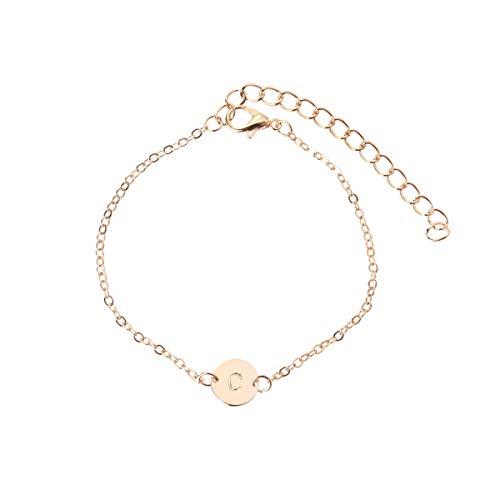 TENDYCOCO Gravierte erste Armband Fußkettchen Buchstabe C Armband einstellbar Monogramm Armband Strand Fuß Kette Armband (Gold)