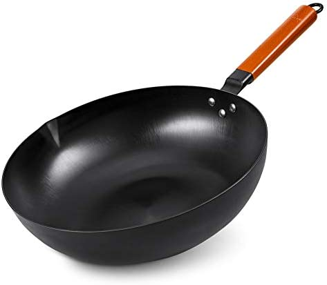SKY LIGHT Wok Pan No Chemical Stir Fry Pan 12 5 inch 100 Carbon Steel Chinese Iron Pot with product image