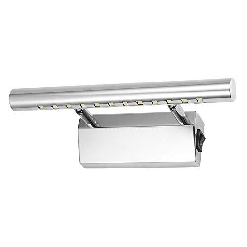 Edelstahl Spiegelleuchte ABEDOE IP44 Badlampe Wandleuchte fürs Bad Spiegellicht Seitlich mit Schalter Weiß [Energieklasse A++]