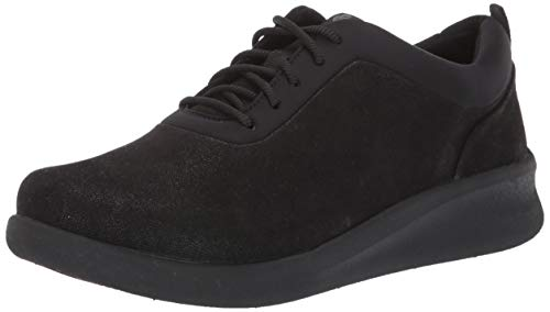 Clarks Women's Sillian 2.0 Pace Sneaker, Black Synthetic Nubuck, 11 M US