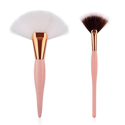 2pcs Maquillage Pinceaux Eye Shadow Fan Forme Teint Poudre Eyeliner Cils Maquillage- beauté Up cosmétiques Tool Kit Noir Blanc BTZHY