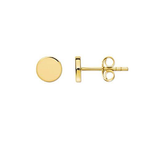 Pendientes redondos de oro amarillo, 1 par de pendientes de plata de ley 925, 7 mm de grosor, joyas para hombre y mujer, regalo para el día de San Valentín, cumpleaños, aniversario, bodas
