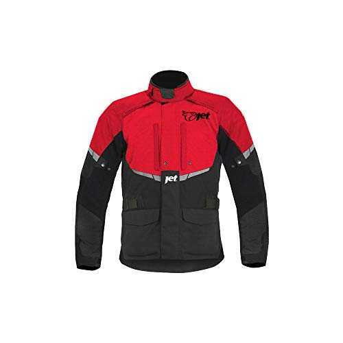 JET Chaqueta Moto Hombre Textil Impermeable con Armadura Tourer (6XL (EU 62 - 64), Rojo)