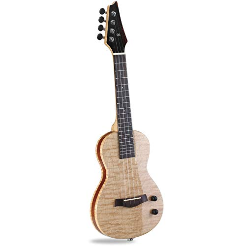 Moozica 24' Electric Concert Ukulele, Top Quality Flame Maple EQ Electric Ukelele With High-gloss...