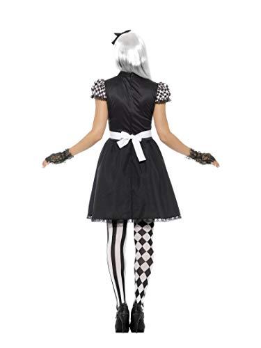 SMIFFYS Costume Alice in stile gotico, Nero e Bianco, con vestito, grembiule e fascia pe