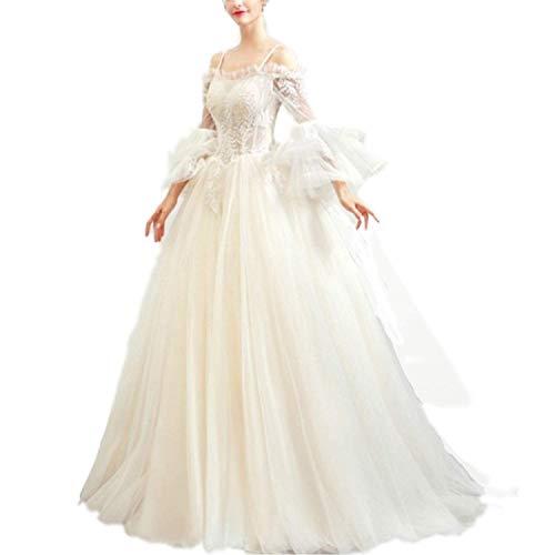 FTFTO Wohnaccessoires Braut Spitze Spitze Bestickt Applique Elegant Sling Party Kleid für Braut fz Beige Small
