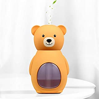 SMARTDEVIL Bear Desk Humidifier Ultrasonic Aroma Diffuser Silent Car Humidifier Sanitization Timing LED Light Bottle Small Air Purifier Preventing Burning Home Bedroom Office Dryness 160ML (Yellow)