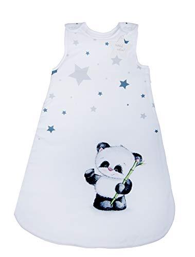 Herding Baby Best Baby-Schlafsack, Panda Motiv, 90 cm, Seitlich umlaufender Reißverschluss und Druckknöpfe, Weiß