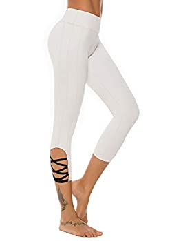 Mint Lilac Women s High Waist Capri Workout Yoga Pants Athletic Tummy Control Leggings with Straps Small Light Gray