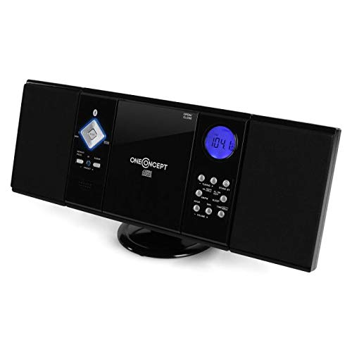 oneConcept V-12-BT - Impianto Stereo HiFi Compatto con Tecnologia Bluetooth, Radio FM, Lettore CD, Lettore MP3, ingressi USB e SD, Ingresso Aux, Display LCD, Nero