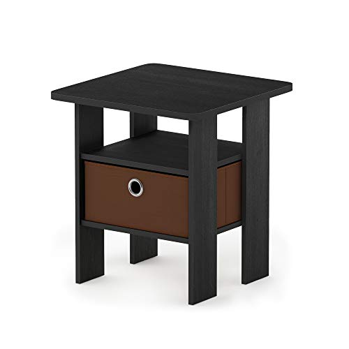 FURINNO Andrey End Table Nightstand with Bin Drawer, 1-Pack, Americano/Medium Brown