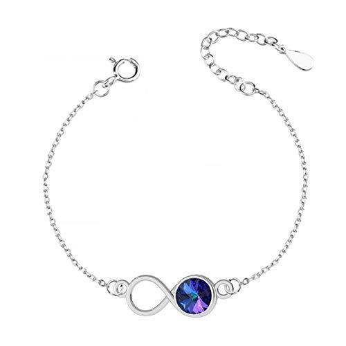 Beforya Paris Infinity – Pulsera ajustable * Heliotrope * – Pulsera de plata 925 con elementos originales de Swarovski® – Pulsera para mujer con bolsa de regalo en caja de regalo