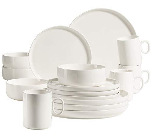 MÄSER 931617 Serie Finaro Geschirr Set für 4 Personen in Gastronomie-Qualität, skandinavisches Design, 16-teiliges Kombiservice, Weiß, Durable Porzellan