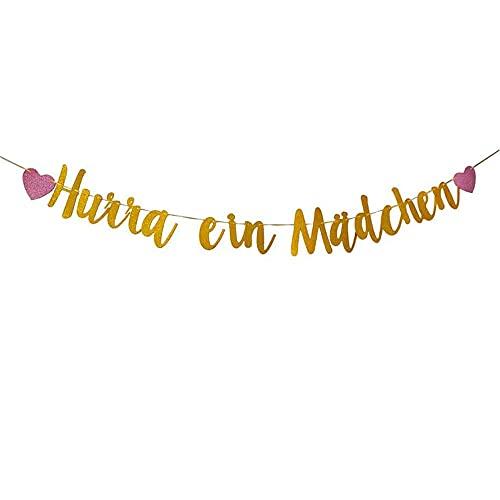 Guirnalda rosa para baby shower de niña de Hurra, guirnalda de banderines para bautizos, bautizos y fiestas de nacimiento, para niñas