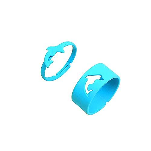 2 anillos abiertos de delfín de color caramelo para las mujeres anillos de dedo para las niñas amantes de las parejas-azul
