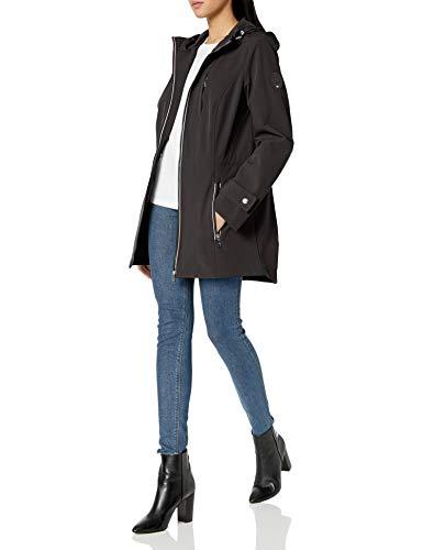 Tommy Hilfiger Women's Iconic Sporty Hooded Soft Shell Rain Jacket, Black, Medium