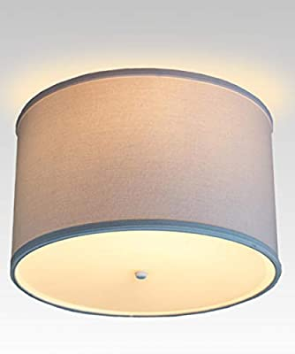 """14"""" Moderne Flush Mount Conversion Kit - DIY Convert Your Dated Glass Ceiling Light to a Modern White Fabric Drum Lamp Shade with Diffuser by Home Concept 14""""x14""""x10"""""""