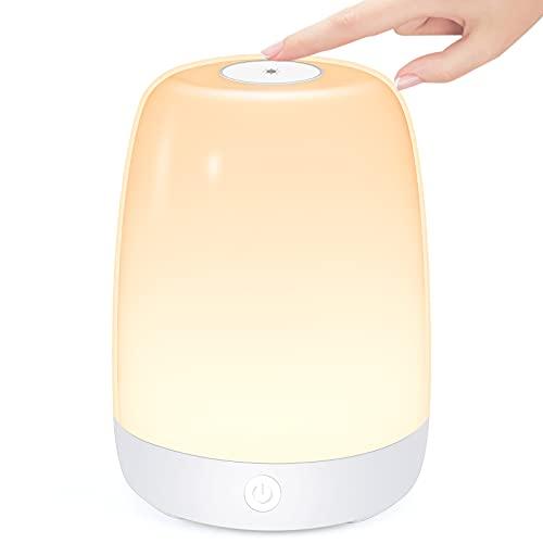 LED Nachttischlampe, mizikuu Dimmbar Touch Tischlampe, LED Smart NachtLicht Schreibtischlampe, USB Aufladbar Tragbar, FarbWechsel RGB für Schlaf Zimmer, Schlafzimmer, Camping