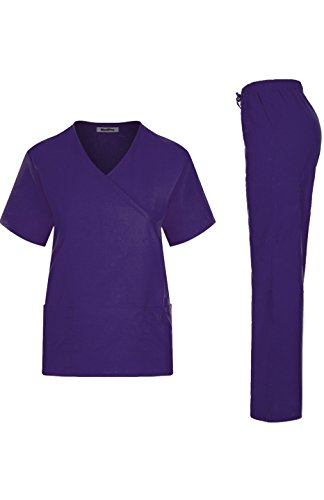 MedPro Women's Solid Medical Scrub Set Mock Wrap Top and Cargo Pants, Purple, X-Large