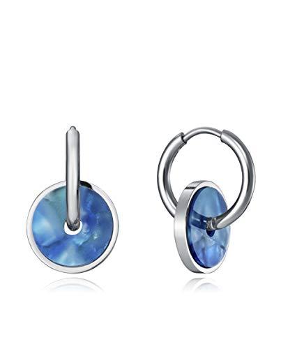 Pendientes Viceroy Kiss de acero con aros y disco de resina en color azul