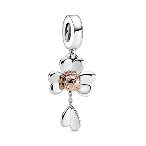 Pandora Jewelry Clover and Ladybird Dangle Pandora Rose and Sterling Silver Charm