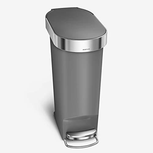 simplehuman 40 Liter / 10.6 Gallon Slim Kitchen Step Trash Can with Liner Rim, Grey Plastic