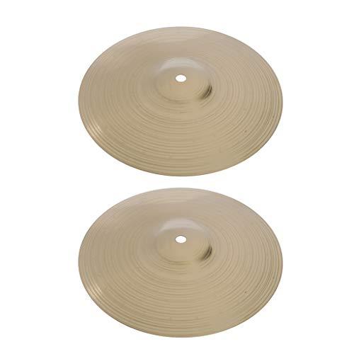 Milageto 2 piezas de 10 pulgadas platos de aleación de latón Crash Drum para percusiones baterista piezas DIY.