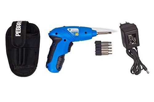 Pebaro 2010 Leistungsstarker Akkuschrauber mit 9 Einsätzen, Ladegerät und Gürteltasche, für Kinder geeignet