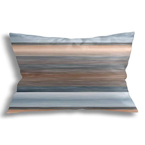 KCOUU Decorative Cushion Covers Pillowcase Soft Cotton Breathable Pillow Covers Cool Chic Brown Blue Watercolor Stripes Modern Design for Couch Sofa Bed Car with Zipper 18x18 inch