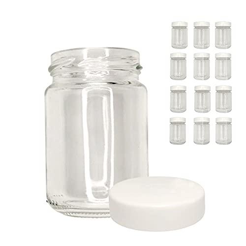 XILMARK Vasos yogurt con Tapa Rosca Plástico twist off de 156 mililitros, vasos yogurtera, Tarro de cristal para potitos bebé, Bote recipiente para natillas, Frasco conservas vacío (Pack 12 Unidades)
